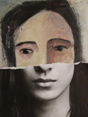 volto di donna dipinto più collage
