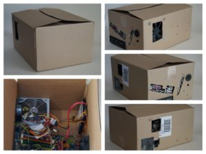 pc costruito all'interno di una scatola di cartone