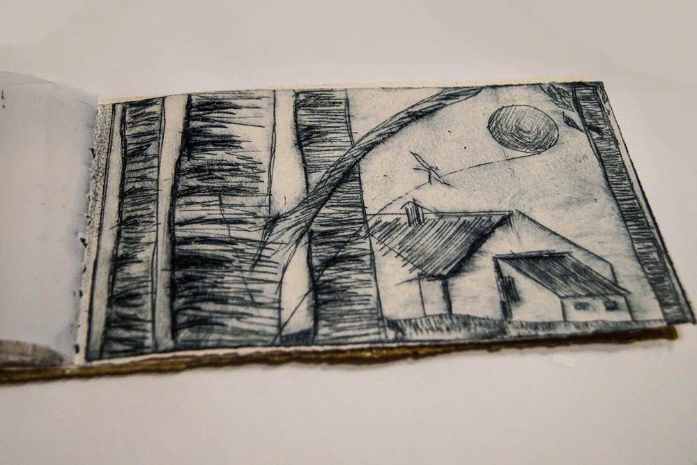 libro- di- artista -realizzato -a -mano -con -illustrazione -stampata- a-mano